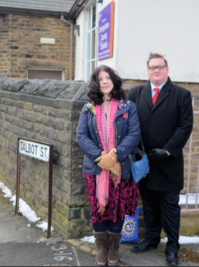 Ellie Wilcox & Damien Greenhalgh outside the former St Luke's School building on Monday morning