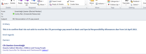 My email to staff renouncing the 1% rise in Member's Allowances.