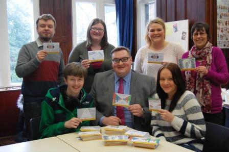 Damien with the young people and co-ordinators from Glossop Volunteer Centre