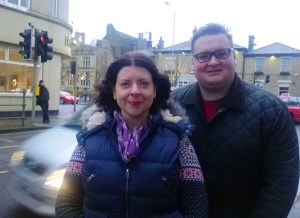 Cllrs Ellie Wilcox and Damien Greenhalgh at the town's busy crossroad.