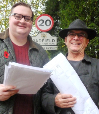 Cty Cllr Damien Greenhalgh and Cllr Nick Longos delighted to see the newly minted 20mph signs in Padfield go up.